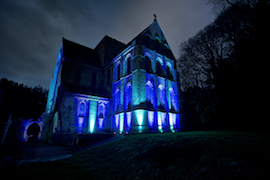 Battery Powered Uplighters bring to life Brinkburn Priory.