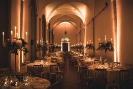 Wireless LED Uplighters at Brancepeth Castle - Photo Credit: Andy Hudson Photography