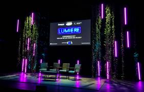 16x Astera AX1 Pixel Tubes and foliage installed for Lumiere Confrence