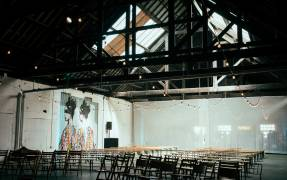 Warehouse wedding lighting at Hoults Yard Clayshed- Photo Credit: Chocolate Chip Photography